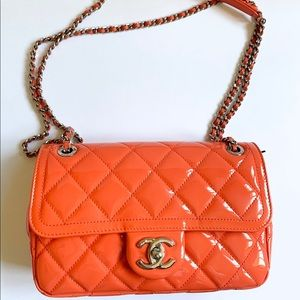 Pat and leather orange Chanel bag